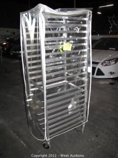 KelMax Aluminum Rolling Pan Rack with (7) Pans