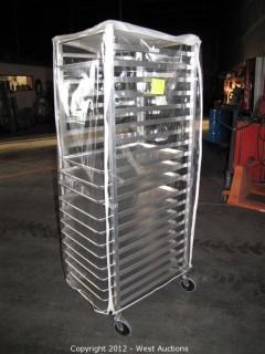 KelMax Aluminum Rolling Pan Rack with (13) Pans