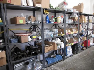 Combo Lot - Plumbing Supplies, Tools, Pipes, Water Heater Parts, Racks
