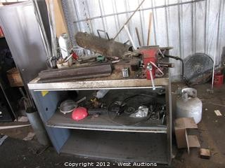 Work Bench with Vise and Contents