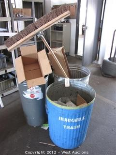 Trash Cans and Push Broom