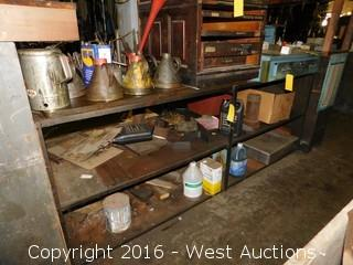 Steel Workbench with Oil Cans