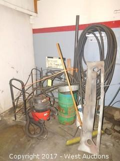 Bulk Lot of Supplies; Hoses, Vacuum, Push Broom