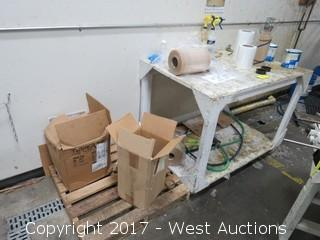 Wood Cart on Casters with Spools of Wire and Rolls of Film