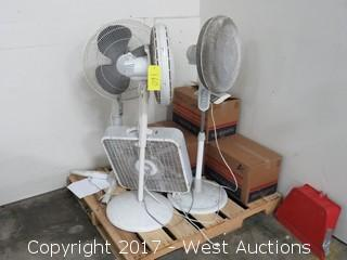 (4) Fans and (4) Boxes of Product Cartons