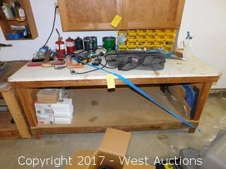 6' Wood Bench with Tools and Contents