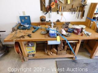 6.5' Wood Work Bench with Tools and Contents