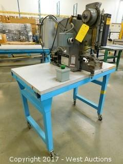National Rivet Co. Pneumatic Riveter on a Rolling Table