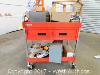 US General Service Cart with Tools, Toolboxes, Electrical Tester, Parts