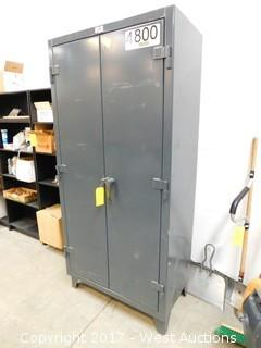 Stronghold Metal Cabinet with (16) Boxes of Nuts, Washers, Screws, Buttons and More