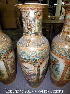 (1) Oriental Hand Painted Porcelain Vase - Brass Tone with Landscape Theme