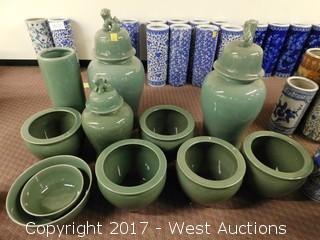 (10) Oriental Cracked Glaze Porcelain Temple Jars, Bowls and Vases