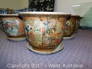 (6) Oriental Hand Painted Porcelain Planter Bowls - Brass Tone with Landscape Themes