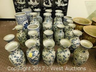 (24) Oriental Hand Painted Porcelain Vases - Blue Tone with Foliage Theme