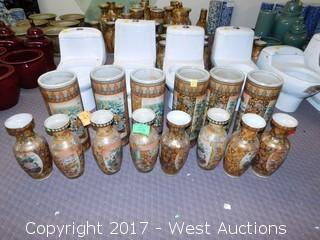 (14) Oriental Hand Painted Porcelain Vases - Brass Tone with Landscape Themes