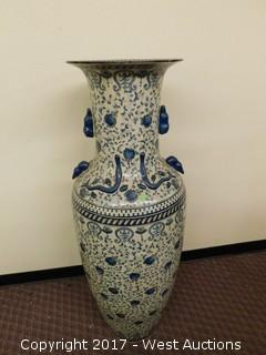 "(1) Oriental Hand Painted 48"" Porcelain Vase - Blue Tone with Foliage Theme"