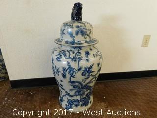 "(1) Oriental Hand Painted 30"" Porcelain Temple Jar - Blue Tone with Floral Theme"