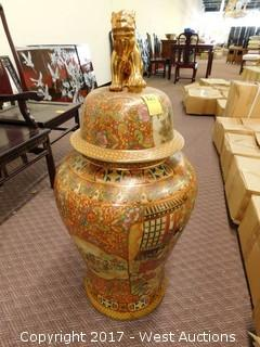 "(1) Oriental Hand Painted 30"" Porcelain Temple Jar - Brass Tone with Landscape Theme"