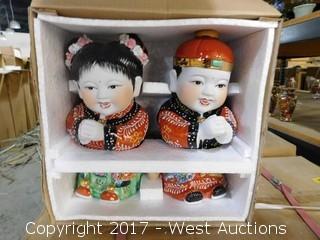 "(8) Boxes of 12"" Porcelain Figurine Sets"