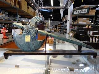 """Jade Battle Axe 30"""" with Stand"""