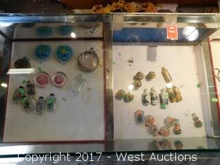 Contents of Glass Display (35+) Mini Temple Jars, Jade, Crystal and More