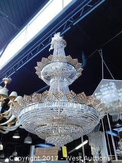 Crystal Chandelier with Gold Decor