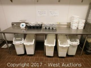 (1) John Boos 8' Stainless Steel Prep Table with 5 Ingredient Bins and More