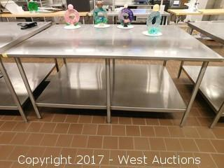 (1) Stainless Steel Table with Undershelf 6'x4'