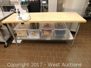Stainless Table with Wood Top 6'x2' including (4) Bins of Supplies