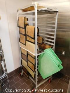 (1) 6' Portable Tray Rack with Supplies