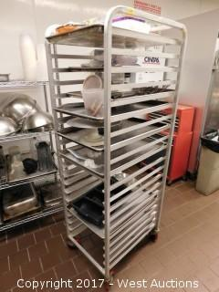 (1) Win-Holt 6' Portable Tray Rack with Supplies