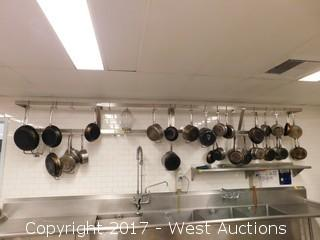 15' John Boos Wall Hanging Pot Rack with Pots and Pans