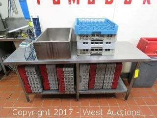 6' x 2' Stainless Table with (15) Glass Drying Racks and Stainless Box