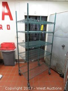 """Rolling Metro Green Epoxy Rack 3' W and 6"""" H"""