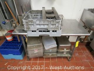 """Stainless Table with Misc Restaurant Wares - 4"""" x 2"""""""
