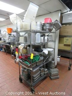 Rolling Metro Rack with Restaurant Supplies