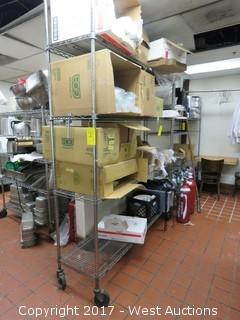 Rolling Metro Rack with (11)+ Boxes of Restaurant Supplies