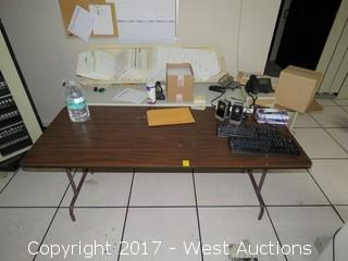 (3) Tables/Desks with Office Supplies and Computer Parts