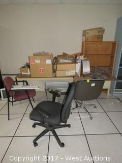 Desks, Chairs, Shelf, and Computer Hardware