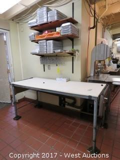 Poly Top Stainless Cutting Table, Wall Shelves, Aluminum Trays and Meat Hooks