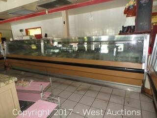 Refrigerated Deli / Supermarket Fresh Food Display Counter, Scale and Menu Sign