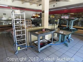 Bulk Lot; Point of Sale System, Tables, Tray Rack Display Racks