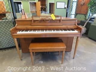 Rudolph Wurlitzer Wooden Piano And Bench