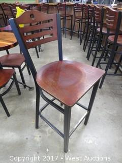 (1) Wood Bar Height Chair