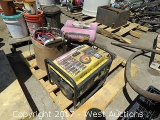 Pallet; (1) Generator, (1) Air Compressor, (1) Box of Various Items