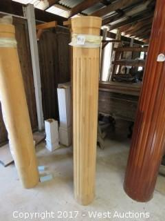 "(2) Full Round Fluted Real Wood Columns 68"" x 9"""