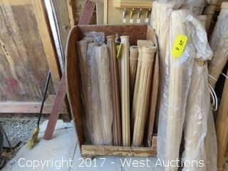 (15) Fluted Round, slightly tampered, Wood Newels