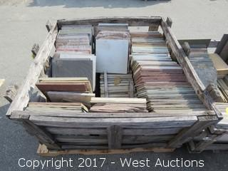 "(1) Crate of Assorted 12"" x 12"" Slate, Sandstone, Quartzite"