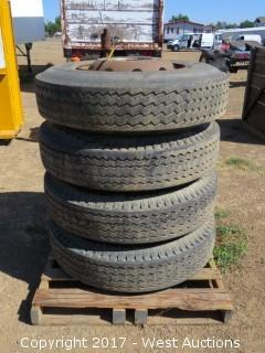 (4) Rims and Matching Goodyear Trailer Special Tires 11-22.5