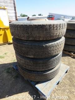(4) Rims and Tires 11R24.5